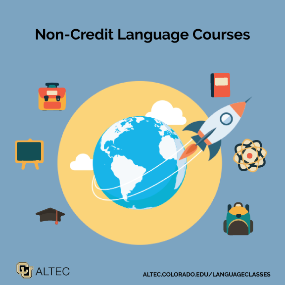 Non-Credit Language Courses at ALTEC; illustration of rocket traveling the globe
