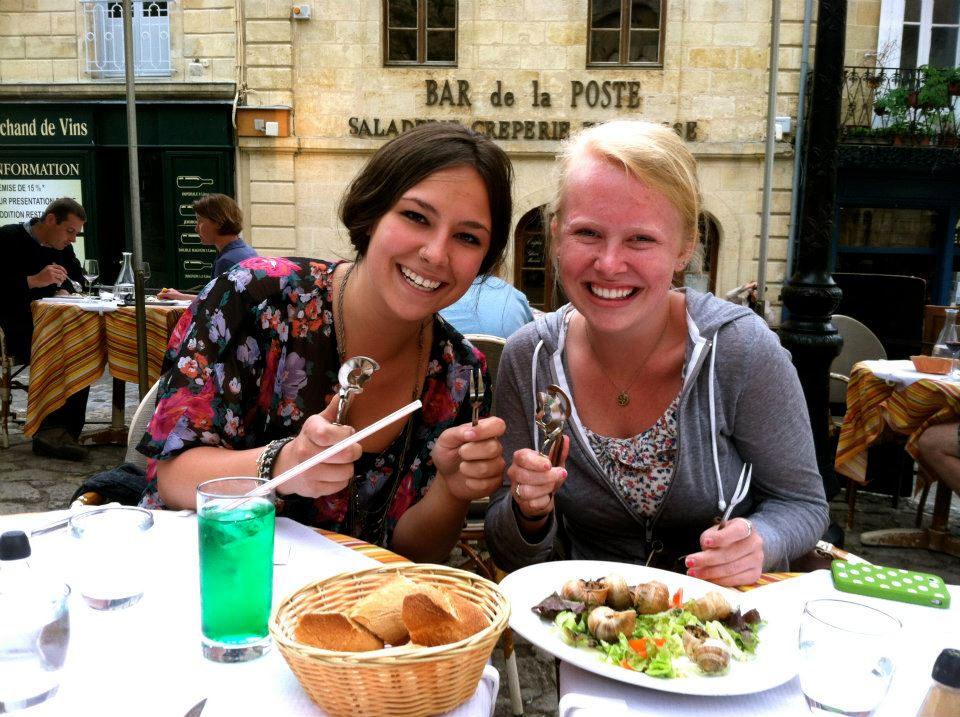 Eating escargot in Bordeaux, France