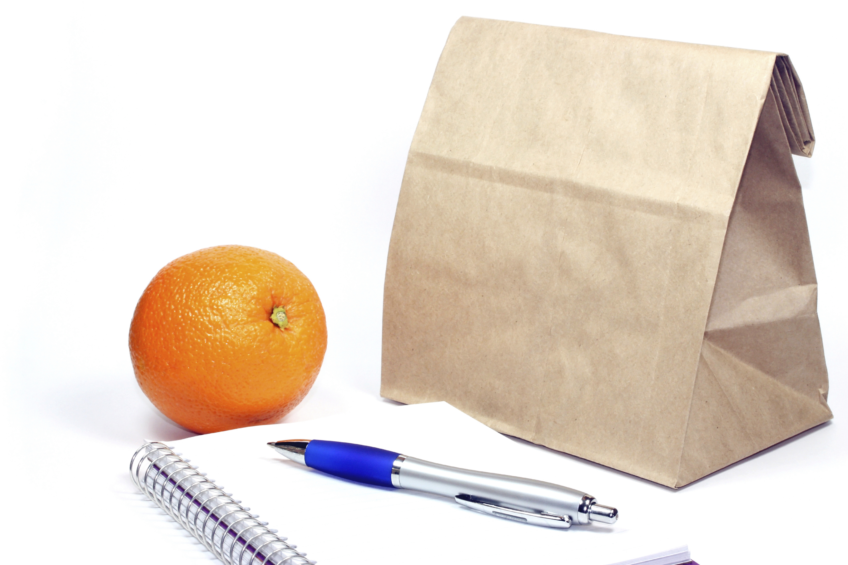 Brown bag, notebook, pen and orange