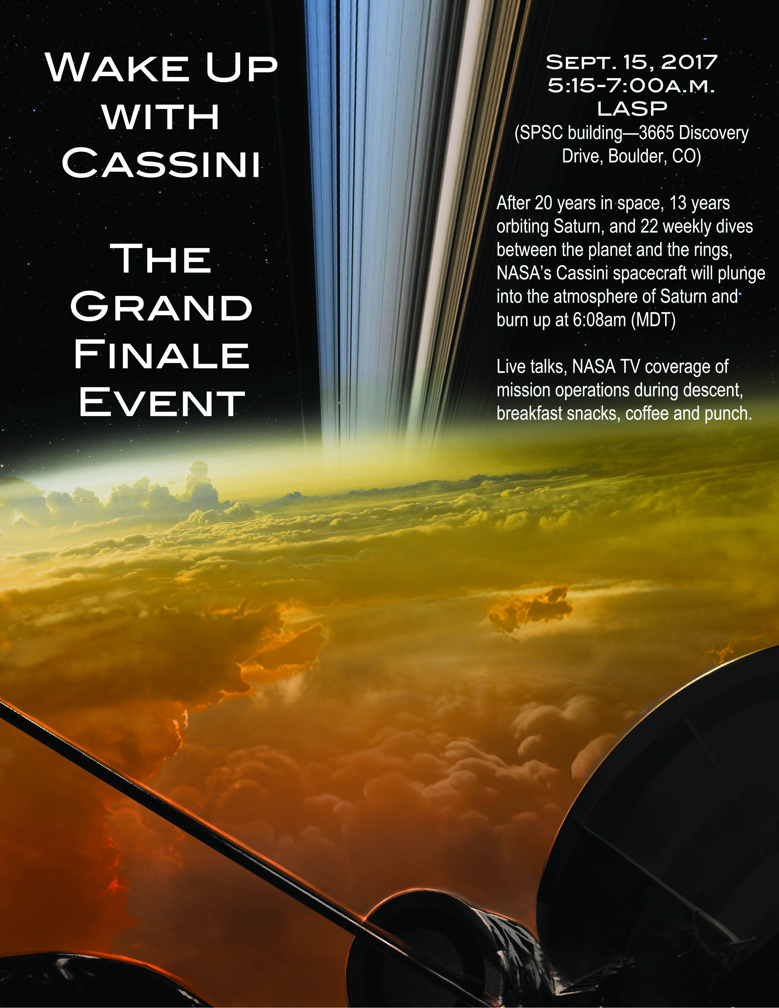 Wake Up with Cassini: The Grand Finale Event