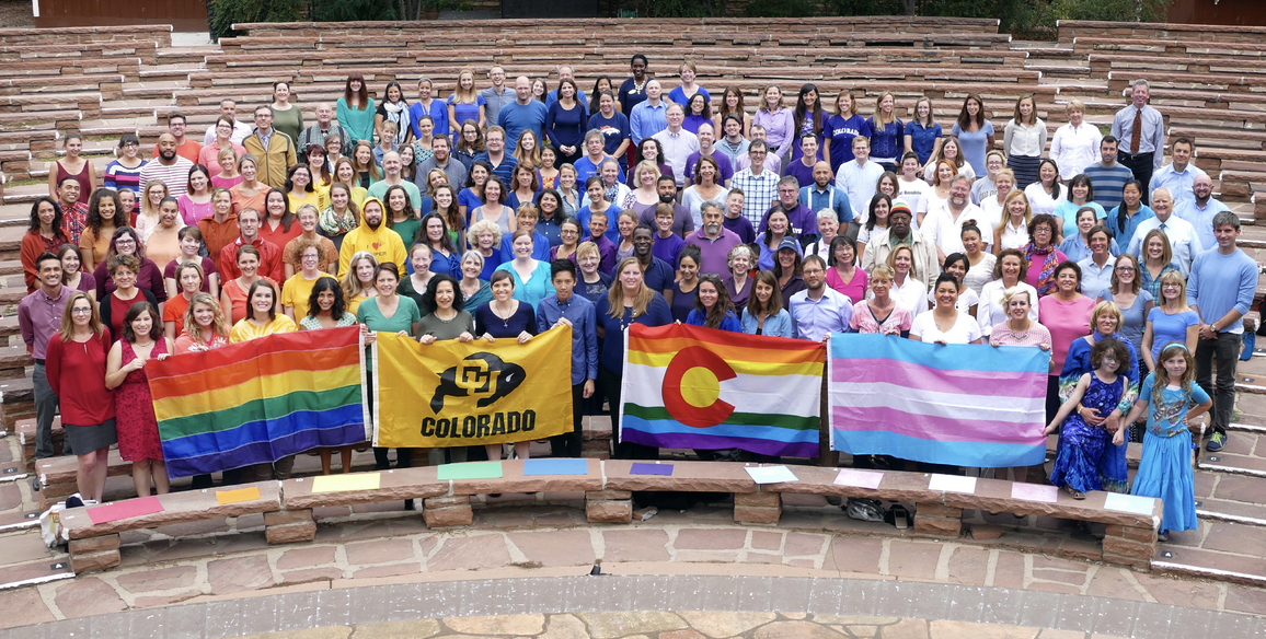 LGBTQ community at CU Boulder dressed in rainbow colors