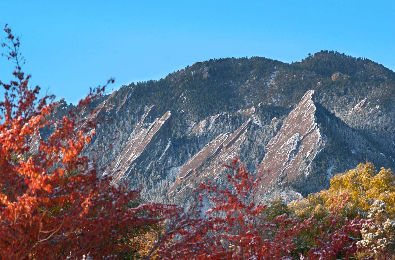 Photo of the Flatirons during fall