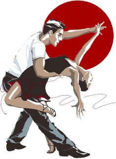 Illustration of man and woman salsa dancing