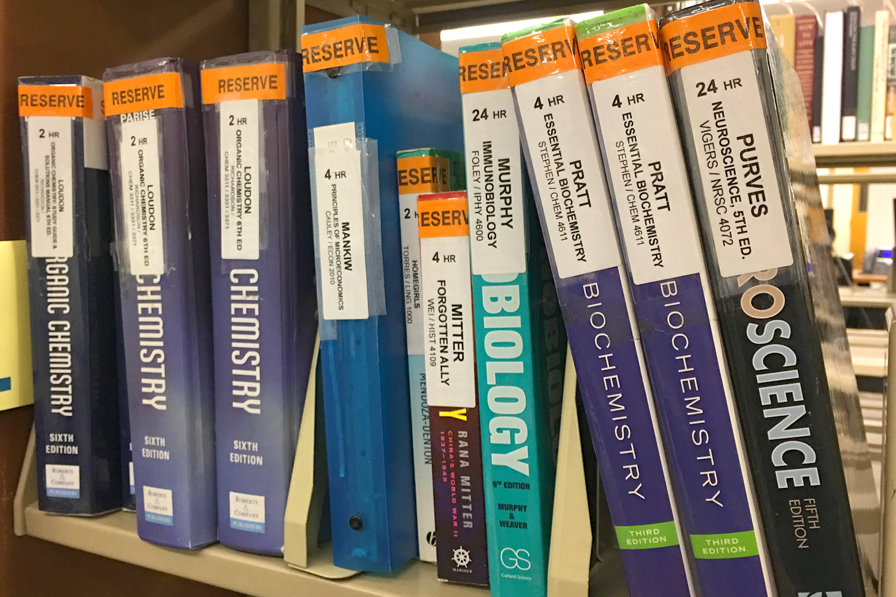 Course reserves textbooks in library